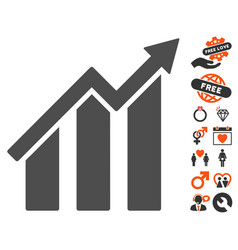 Growth chart icon with dating bonus vector