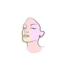 hand drawn face line art vector image