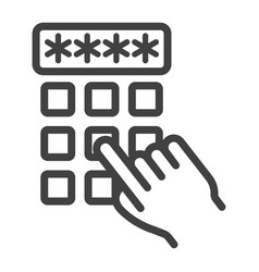 Hand finger entering pin code line icon unlock vector