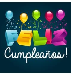 Happy birthday in spanish vector