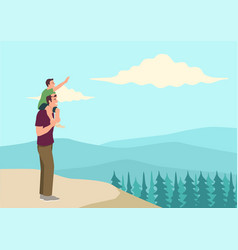 Happy father and son on top mountain vector