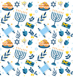 Happy hanukkah seamless pattern hanukkah jewish vector
