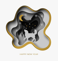 happy new year 3d abstract paper cut vector image