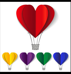 Heart-shaped hot air balloons background vector