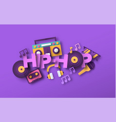 hip hop urban music papercut musical icon quote vector image