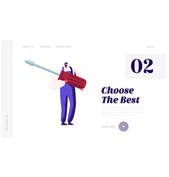 Husband for hour call service website landing page vector