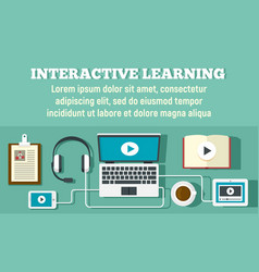 Interactive learning concept banner flat style vector