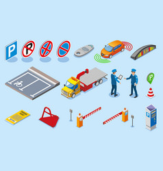 Isometric colored parking icon set vector