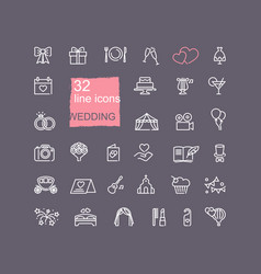 Linear icons on theme wedding vector