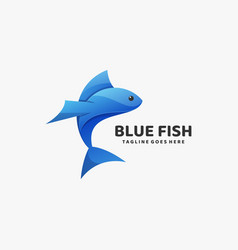 Logo blue fish gradient colorful style vector