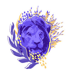 Male lion head decorated with abstract leaves vector