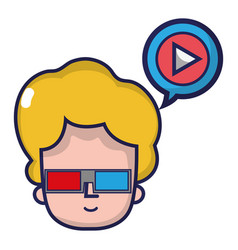 Man head with 3d glasses with video inside chat vector