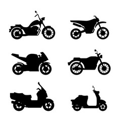 Motorcycles and scooters black silhouettes vector