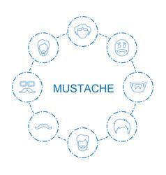 Mustache icons vector
