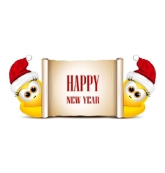 New year card design template Two funny chicken vector image