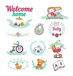 Newborn welcome home Icon set vector