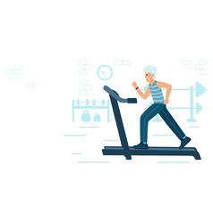 old man running on motorized treadmill sportive vector image