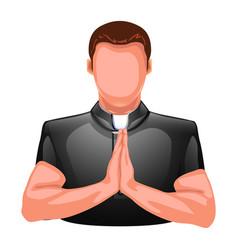Praying priest silhouette vector