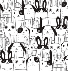 Rabbit seamless pattern c vector