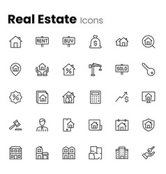 real estate property icon set vector image