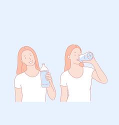 Regular water drinking healthy habit concept vector