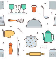 restaurant kitchenware seamless pattern vector image
