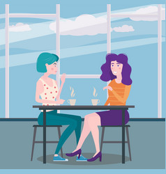 romantic meeting two girlfriends in a cafe sit vector image