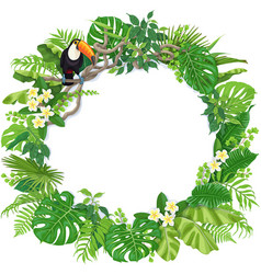 Round frame with tropical plants and toucan vector