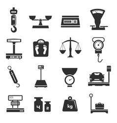 scales icon set weight pictograph collection vector image