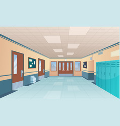 school corridor bright college interior big vector image