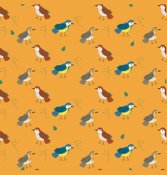 seamless pattern with birds orange color in vector image