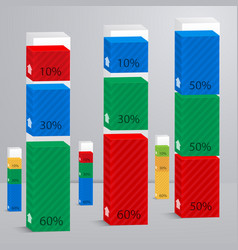 set 3d columns with percent vector image