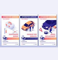 Set header banners for advertising car service vector