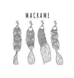 Set macrame boho style keychains collection of vector