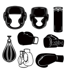 Set of boxing design elements boxer helmet gloves vector