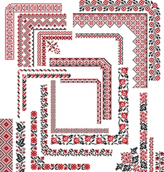 Set of Corner Patterns for Embroidery Stitch vector image