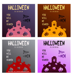 set of halloween party invitation scary poster vector image