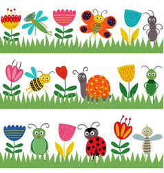 Set of isolated borders with funny insect vector
