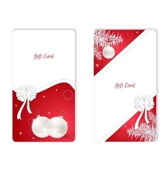 Set of two vertical white Christmas gift card with vector