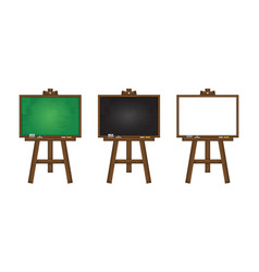 set realistic blackboard greenboard and vector image