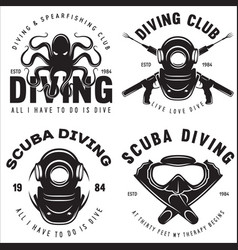 set scuba diving club and diving school badges vector image