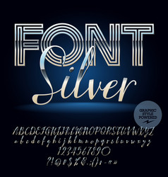 set silver letters numbers and symbols vector image