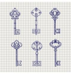 set sketch ornamental keys vector image