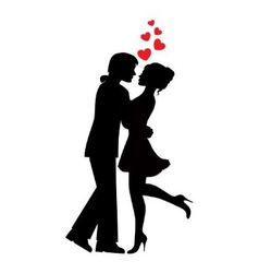 silhouettes couples in love vector image