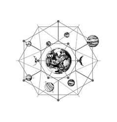 Solar system sacred geometry vector