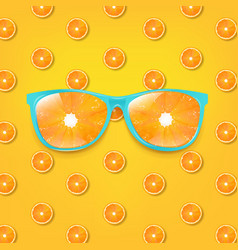 sunglasses with orange and orange background vector image