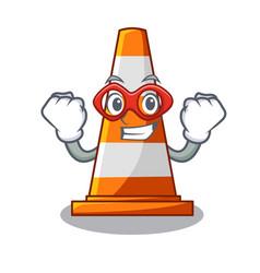 super hero traffic cone on made in cartoon vector image