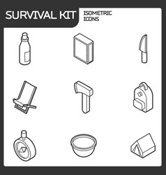Survival kit outline isometric icons vector