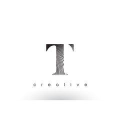 t logo design with multiple lines and black and vector image