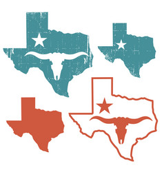 texas set maps silhouette with bull skull vector image